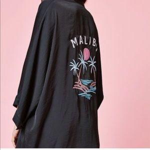 Kendall & Kylie Black Kimono Malibu Embroidery